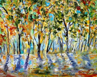 Fall Trees painting Autumn Serenity Original oil landscape palette knife impressionism on canvas 24x20 fine art by Karen Tarlton