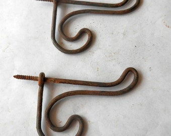 pair (2) fancier antique vintage wire hooks iron