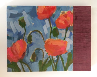 Poppies on Purple Heart Wood Original Oil Painting by Angela Moulton