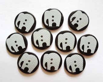 12 pcs Elephant Graphic Printed Retro Buttons 30mm 2 Holes