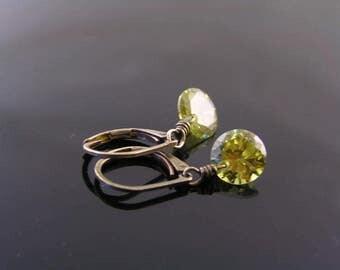 Cubic Zirconia Earrings, Brilliant Cut Earrings, Olive CZ Earrings, Green Earrings, Small Earrings, Solitaire Earrings, CZ Jewelry