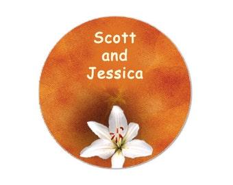 "Orange Lily  2"" round stickers -- 20 stickers - FREE PERSONALIZATION - stickers, baby shower favor  (ST50113)"