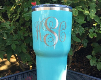 Monogram RTIC, YETI vacuum insulated tumbler, powder coated and laser engraved/etched, custom, personalized