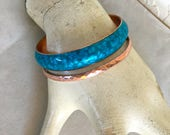 Vinage Matisse Blue Enamel and Copper Bracelet Hammered Copper Bangle ON SALE