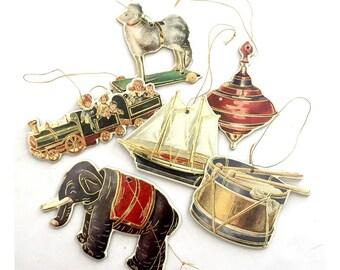 Vintage Christmas Ornaments, Cardboard Vintage Toy Christmas Ornament Set, Set of Six Christmas Ornaments, Elephant Drum Top Sailboat Train