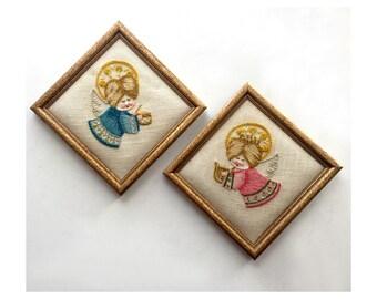 Framed Angels, Vintage Embroidered Angels in Frames, Pink and Blue Angels, Musical Angel Embroidery Set, Two Framed AngelsVintage Embroidery