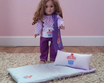 American Girl Sleeping Bag Set-Sleep over-Doll sleeping bag-18 inch doll sleeping bag-slumber party set-American Girl-18 inch Doll
