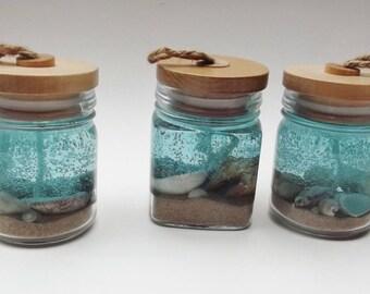 Beach Gel Candle, Blue candle, Seashells, Coastal Wedding