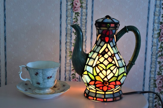 Stained Glass Teapot Lamp Blue Floral Bouquet Flower Green