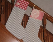 Custom Christmas Stockings RESERVED for Victoria His & Hers Vintage Ticking Buttons Primitive Holiday Decor First Christmas