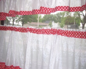 Vintage Red & White Polka Dot Cafe Curtains, Kitchen,Bathroom Curtains, Tiers, Valance, Panels, Cottage Chic, MCM, Country Cottage