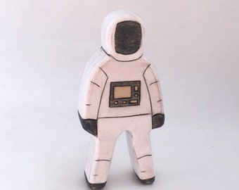 astronaut wooden toy, waldorf wooden toys, space toys, wood toy, astronaut figurine