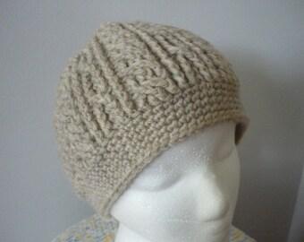 Cable Crochet Wool Beanie Skull Cap Stocking Cap Womens