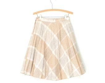 SALE Wool 70s Skirt * Vintage 1970s Skirt * Flared Bias Plaid Skirt * Small