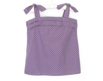 Vintage Cotton Blouse * 80s Tank Top * Purple Tank Shirt * Small / Medium