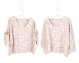 Vintage Linen Blouse * Boxy Blouse * Polka Dot 80s Shirt * Large