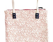 """New Tomato Polka Dot Mod Tote Bag, 10"""" drop, skinny canvas strap, rivets, Leather Pull, Industrial Zip, with navy canvas detail"""