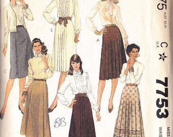 Misses Skirt Pattern - Mc Calls Pattern 7753 ~ Size 14 ~ Waist 38 ~ Pleats Below Hipline ~ Fashion Basics ~ Cut But Complete