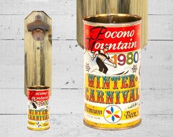 Brother Gift Ski Lover Pocono Mountain Bottle Opener Vintage 1980 Winter Carnival Beer Can Cap Catcher - Great Gift for Groomsmen