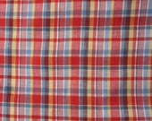 Vintage red plaid cotton fabric