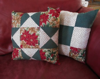 Quilt Block Christmas Throw Pillows