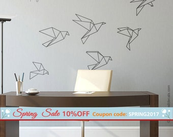 Origami Birds Wall Decal, Origami Birds Wall Sticker Christmas Gift, Set of 6 Geometric Cranes Wall Decal for Office Home Decor Living Room