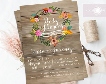 baby shower invitation floral wreath baby shower rustic baby shower invite vintage baby