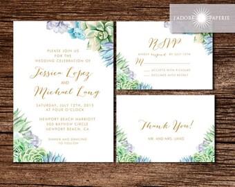 Watercolor Wedding Invitation, Succulent Wedding Invite, Botanical Wedding Invitation, Greenery, Printable Wedding Invite, jadorepaperie