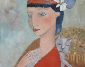 "painting folk art portrait woman and grey cat 18""x24"" original oil on canvas"