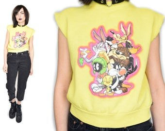 VTG 80s Cropped Neon Yellow and Pink Sweater Looney Tunes Kawaii Cartoon Pullover
