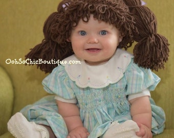 Cabbage Patch Kids Inspired Hat / Wig - Available in 7 sizes, Winter Hats For Girls, Baby Girl Cabbage Patch Hat, Hats with pigtails
