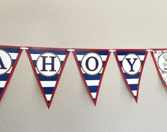 Ahoy It's A Boy Nautical Baby Shower Banner /  Pennant / Baby Shower / Boy