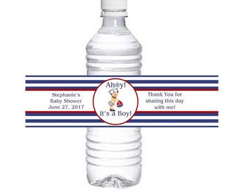 Nautical Baby Shower Water Bottle Wrapper / Ahoy It's a Boy