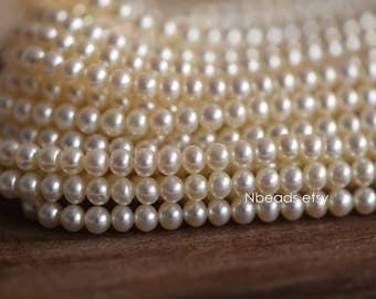 "White Freshwater Pearls 4mm Near Round, Natural Potato Pearl Beads  (PL05-4)/ 15.5"" Full strand"