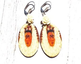 Oval Frida Kahlo Lever Back Earrings in Cream