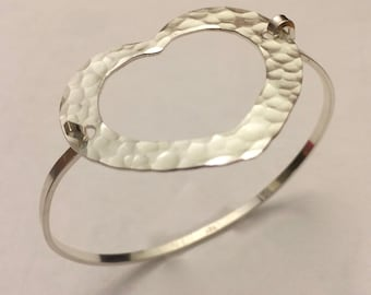 Open Heart Hammered Silver Bracelet-Tension Bracelet - Artisan made by SurfingSilver