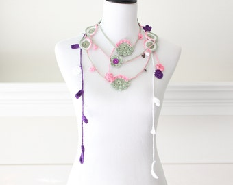 Crochet Sage Green White Pink Purple Lariat, Scarf, Necklace, Scarflette