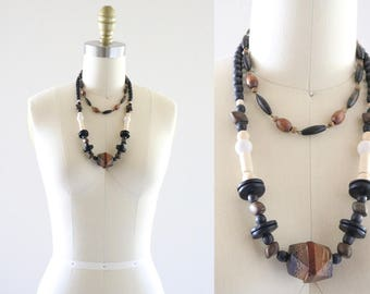 wood block necklace set