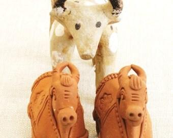 Ceramic Bulls, Folk Art, Handmade, Set, Collection, Bovine, Bull, Mexican Folk Art, Latin Art, Miniatures, Figurines, Sculpture, Animals,Art
