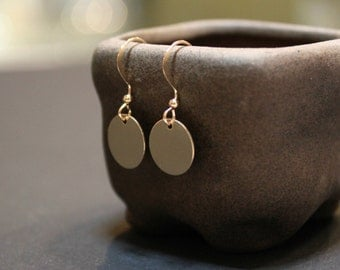 Tiny Simple Disc Minimalist Gold Filled Earrings