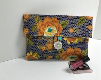 Floral Clutch, Purple and Orange Makeup Bag