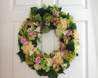 Summer Wreath, Front Door Wreath, Floral Wreath, All Season Wreath, Everyday Wreath, Yellow and Green Wreath, Summer Decor