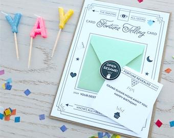 Fortune Telling Letterpress Card: Happy Birthday