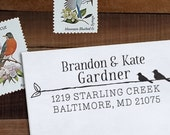 Custom Address Stamp, Personalized Address Stamp, Bird Stamp, DIY, Rustic Wedding Address Stamp, Eco Mount or Self Inking - Type & Bird