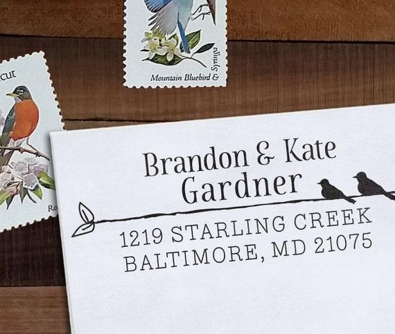 Custom Address Stamp, Personalized Address Stamp, Bird Stamp, DIY, Rustic Wedding Address Stamp, Eco Mount or Self Inking - Type & Bird
