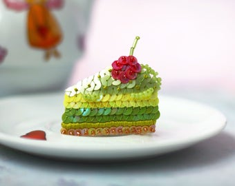 Pistachio Cake Brooch, Lemon Cream Cake, Cherry Berry Cake, Kawaii Food Jewelry, Green Yellow Sequins, Felt Embroidery, Lime Statement Pin