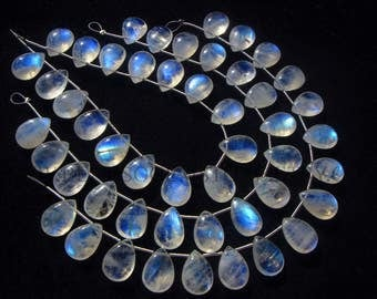 Rainbow Moonstone Smooth Pear (Quality AA+) / 10x14 mm / 18 cm / RA-084