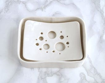 Soap dish and tray set, BUBBLE holes design, white glaze, porcelain soap dish, ceramic bathroom accessory, ceramic soap dish