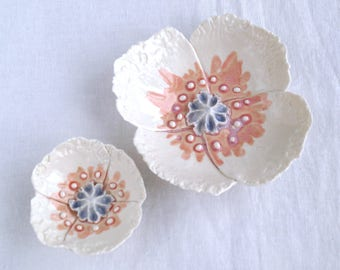 POPPY wall art in white porcelain with pale grey and pink ceramic glazes, ceramic wall flowers,