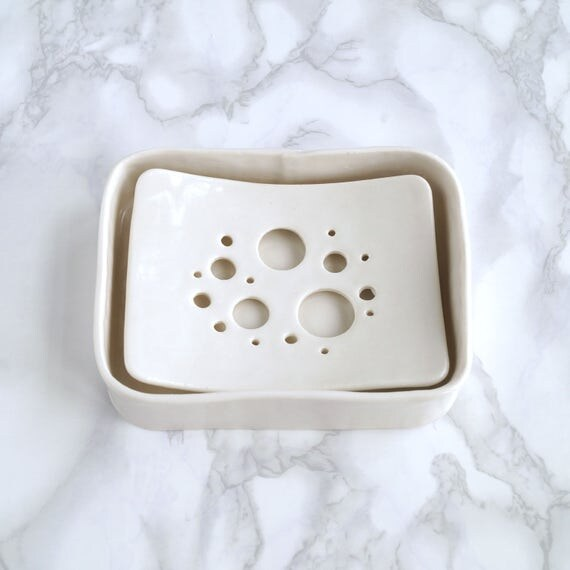 Soap dish and tray set, BUBBLE holes design, white glaze, porcelain soap dish, ceramic bathroom accessory, ceramic soap dish